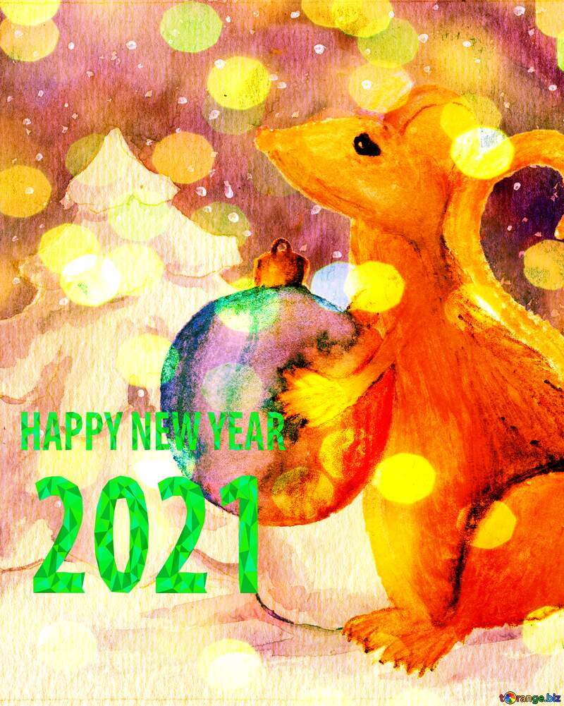 watercolor painted Chinese 2020 new year of the rat card. №54497