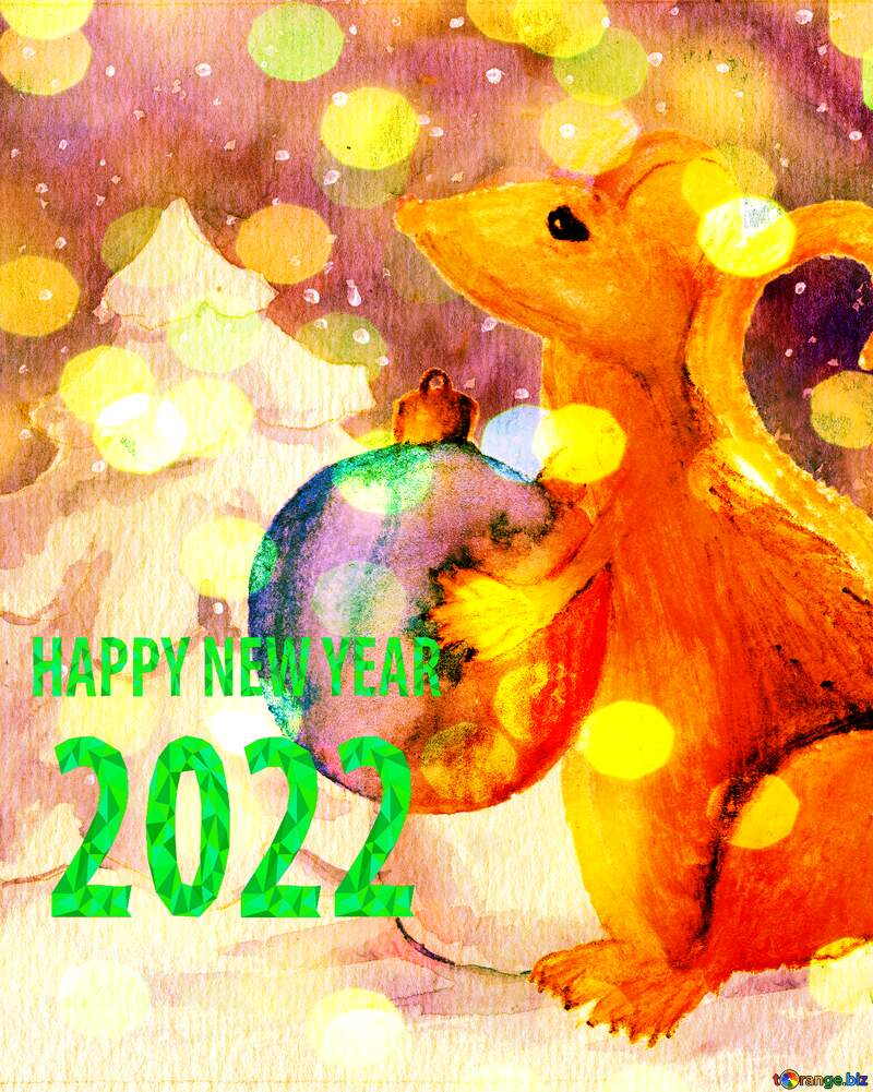 watercolor painted Chinese 2021 new year of the rat card. №54497