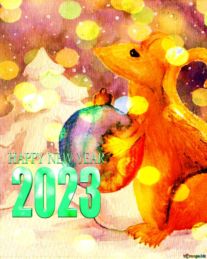watercolor painted Chinese 2022 new year of the rat card. №54497