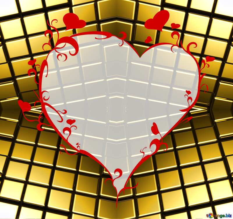 3d abstract gold metal cube background Generated Futuristic Computer Love Heart Pattern №54498