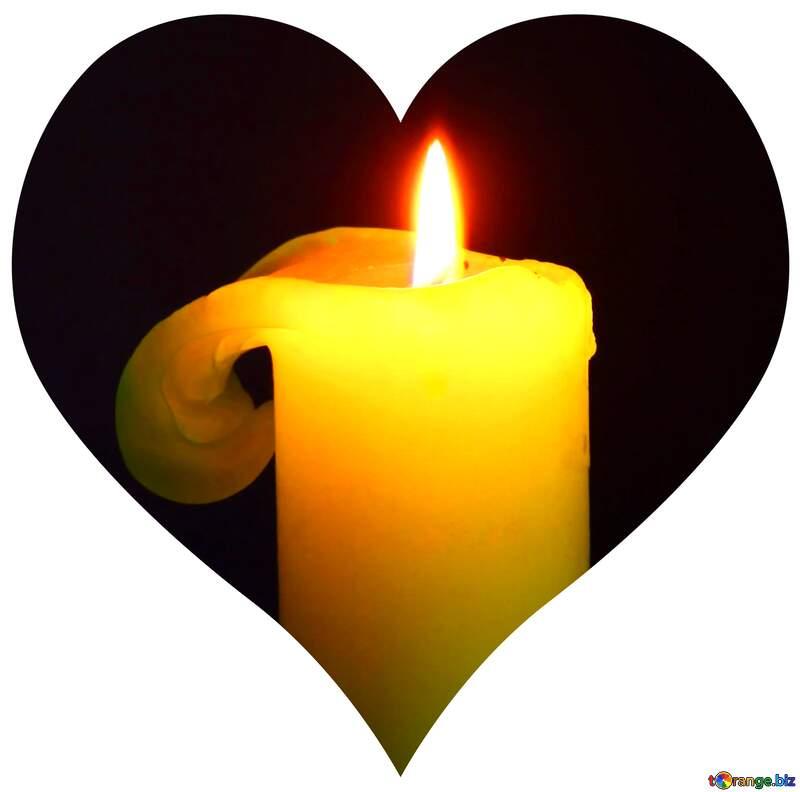 Burning candle heart shaped illustration №2390