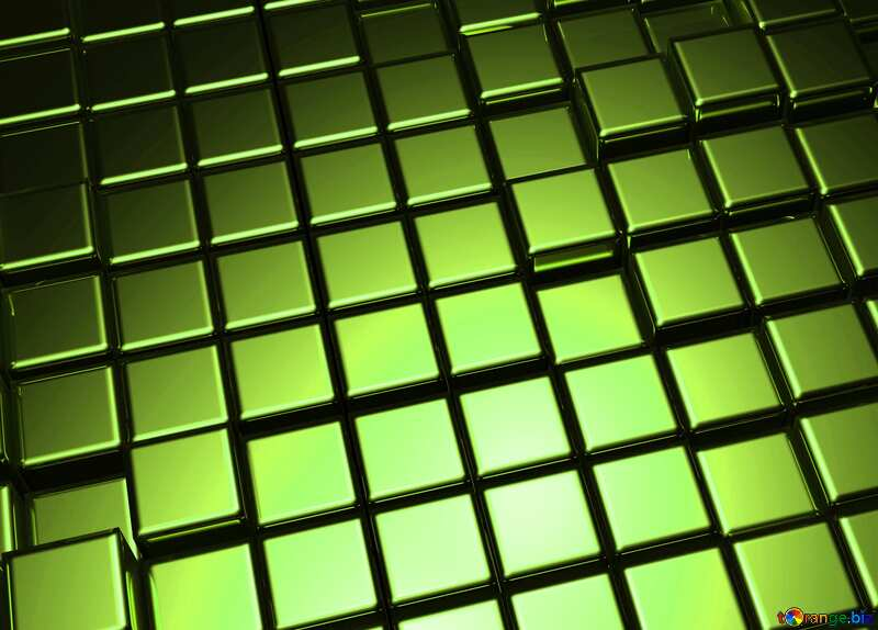 3d abstract green metal cube background №54498