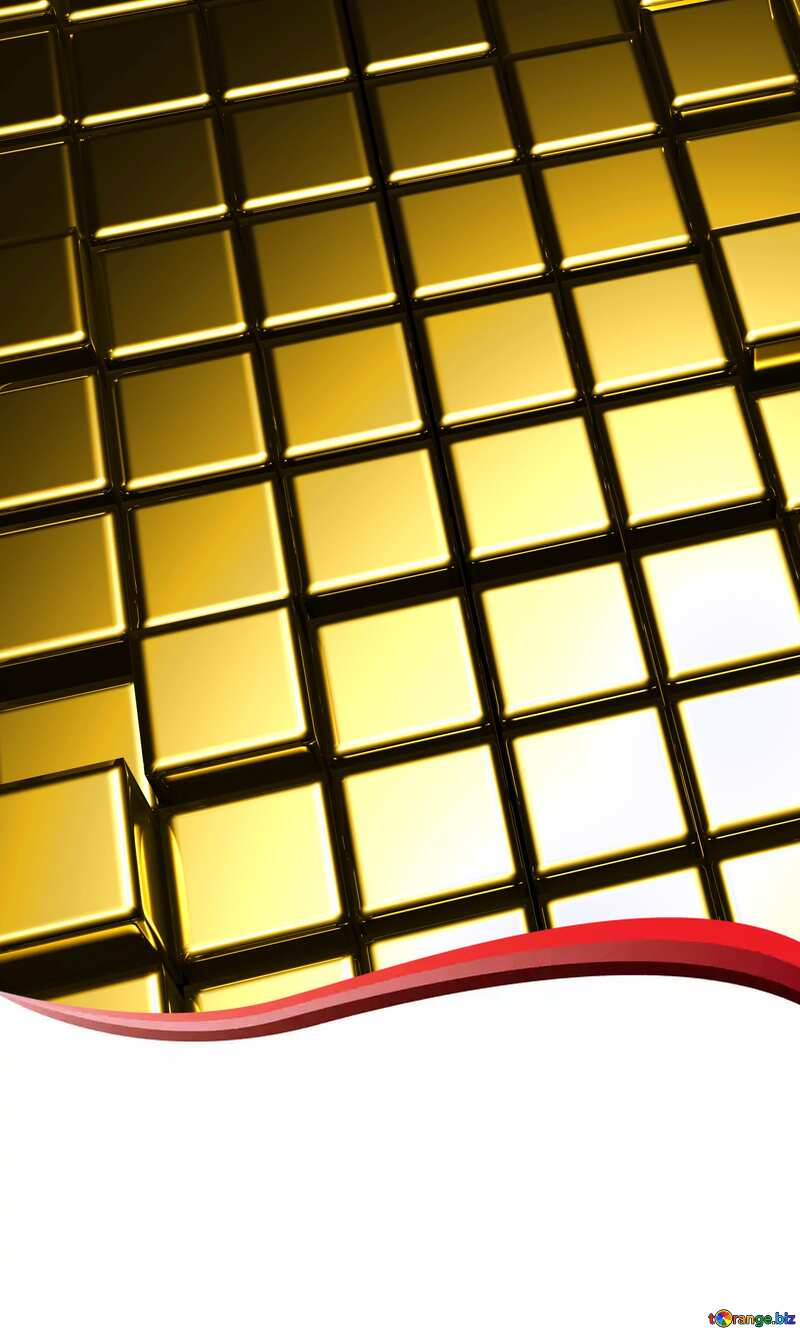 3d abstract gold metal cube background Curved Blank Card Border №54498