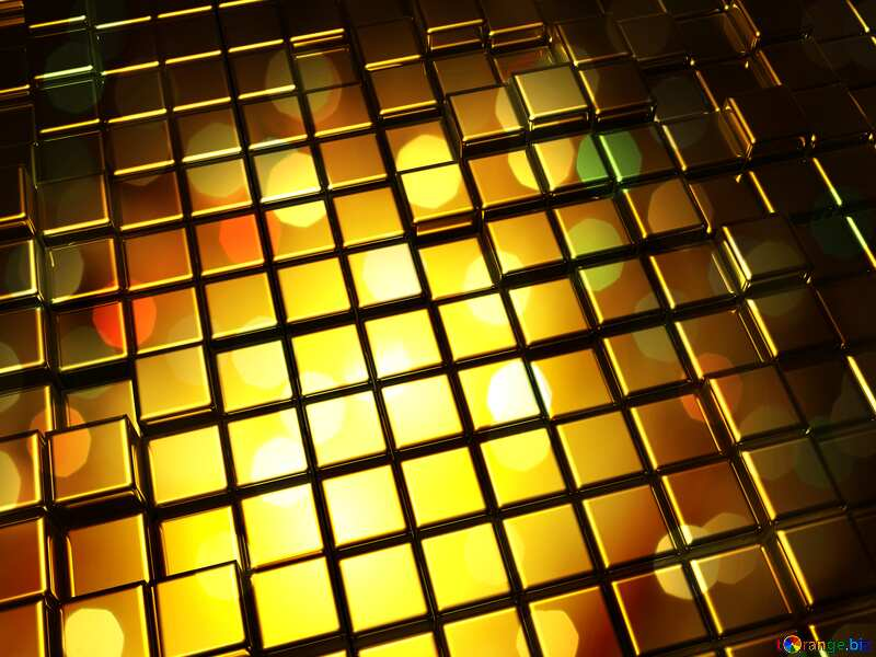 3d abstract gold metal cube background dark Bokeh Card №54498