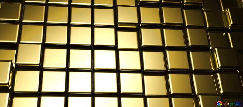 3d abstract gold metal cube background Fragment Card Banner №54498
