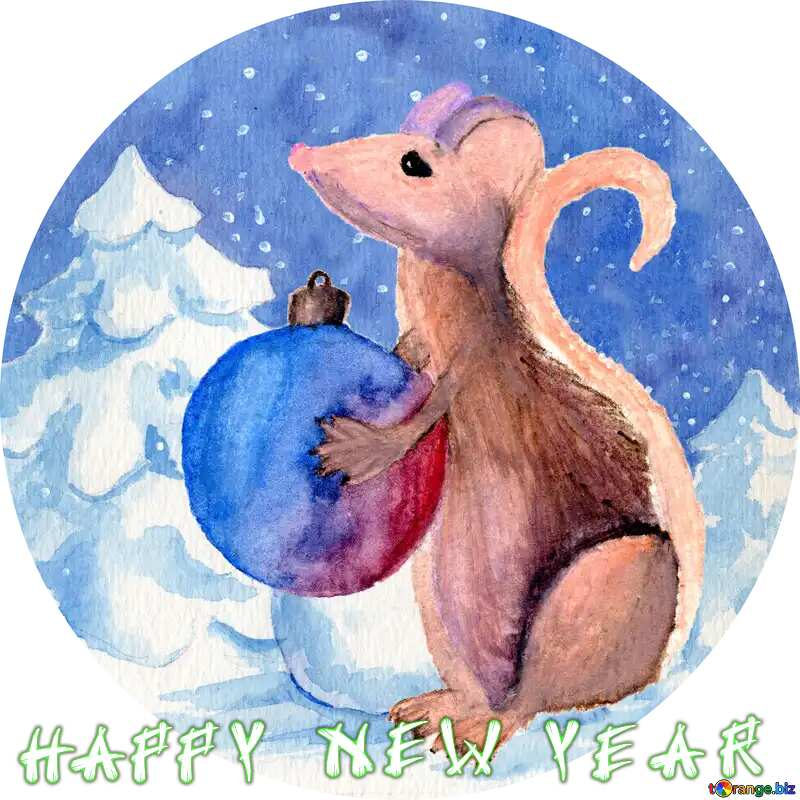 Chinese new year 2020 year of the rat   Christmas Snow forest background. Hand drawing painted watercolor hobby card. Winter sale of goods banner. Mouse Holds a gift in hands. circle frame №54497
