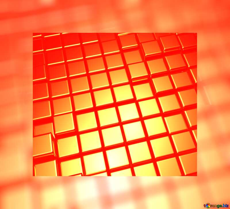 3d abstract gold metal cube background Frame Fuzzy Border Red №54498