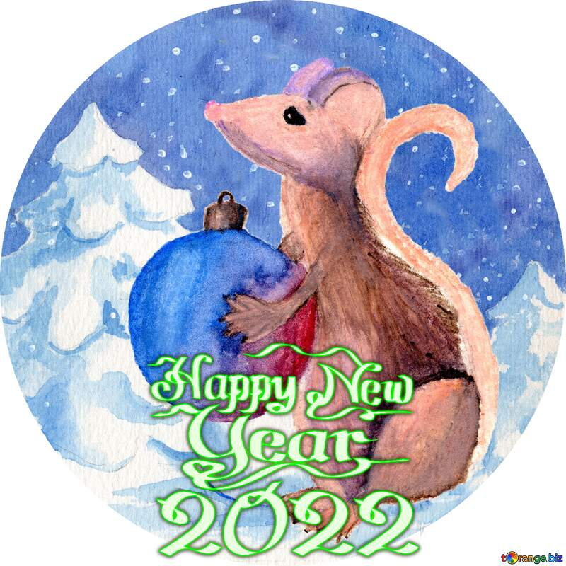 Chinese new year of the rat 2021 Hand drawing painted watercolor gift in hands. circle frame happy new year 2021 №54497