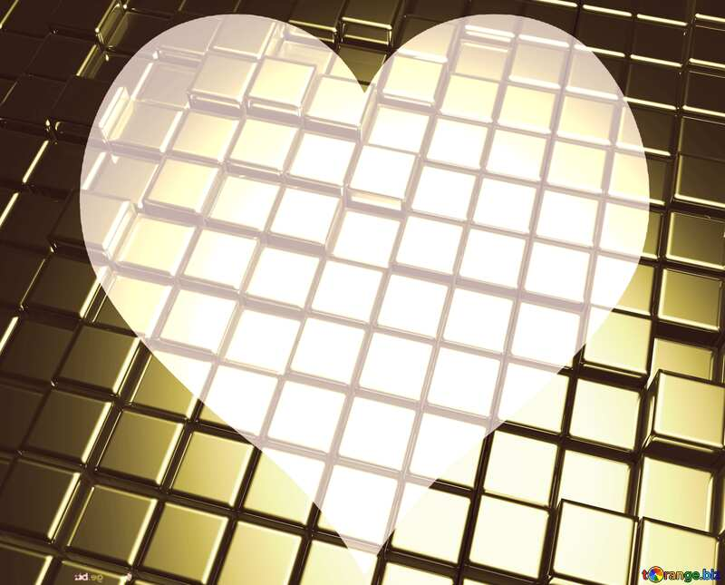 3d abstract gold metal cube background Futuristic Heart Love Shape №54498