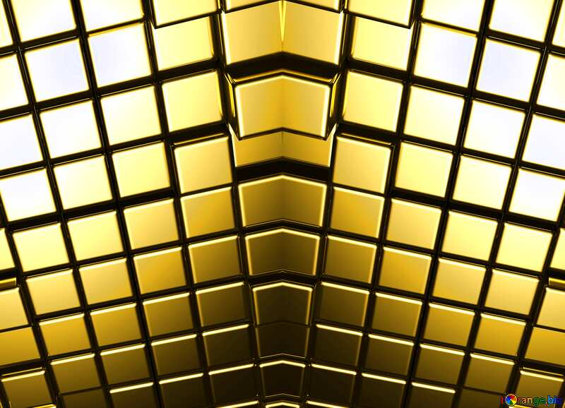 3d abstract gold metal cube background Futuristic Pattern Generated Computer №54498