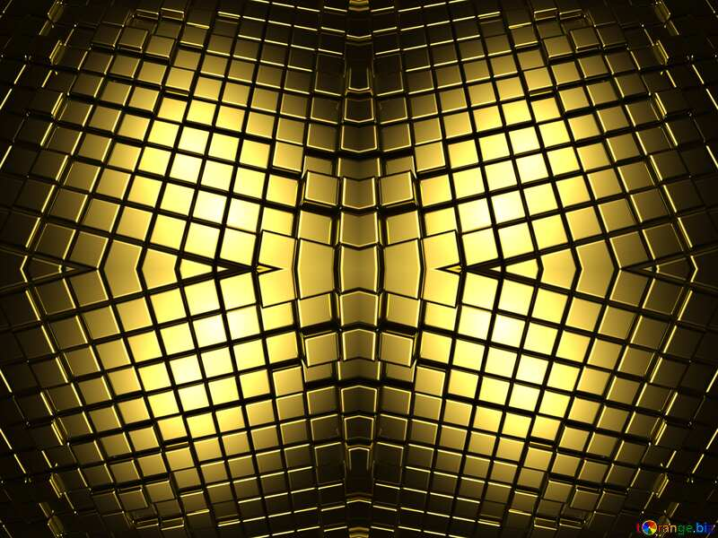 3d abstract gold metal cube background Futuristic Pattern Shape №54498