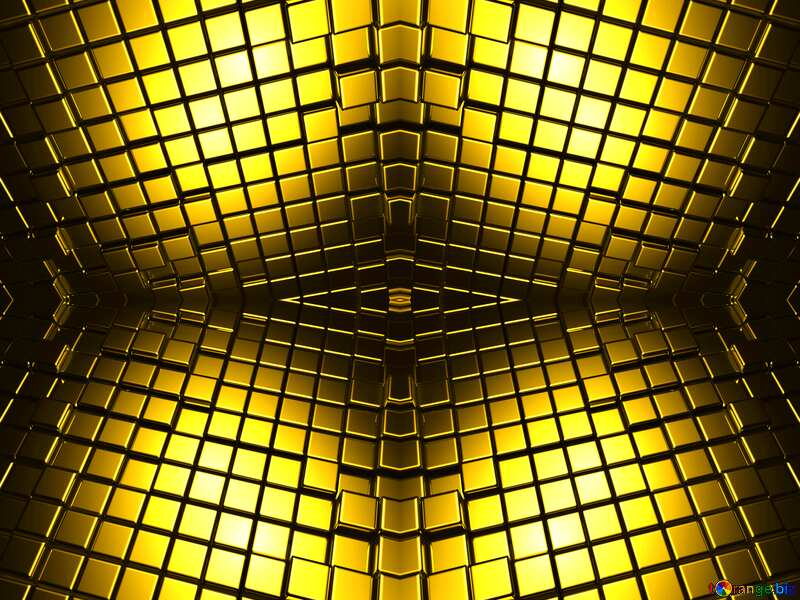 3d abstract gold metal cube background Futuristic Pattern Twisted №54498