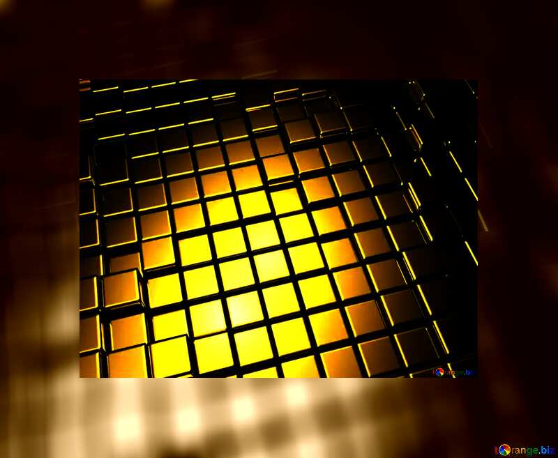 3d abstract gold metal cube background Fuzzy Frame Border №54498