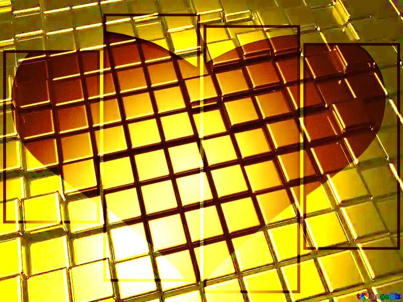 Valentine`s Day Card Heart Love Lovely 3d abstract gold metal cube background №54498
