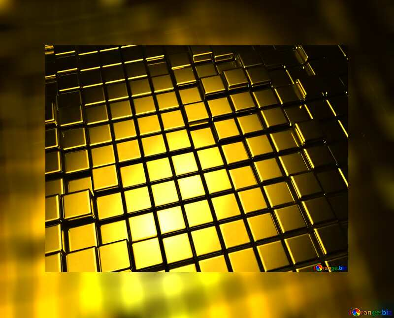 3d abstract gold metal cube background Gold Border Card №54498