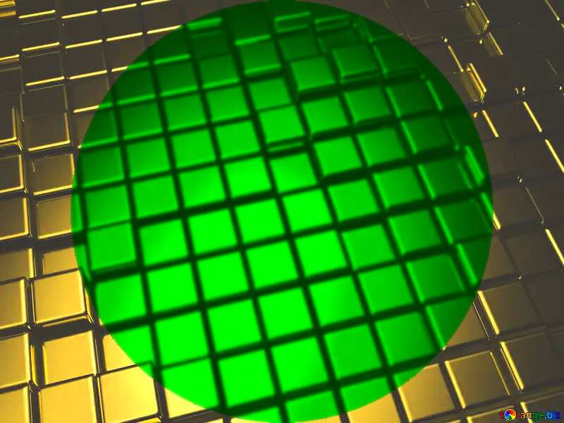 3d abstract gold metal cube background Circle Frame green Infographic Presentation Template №54498