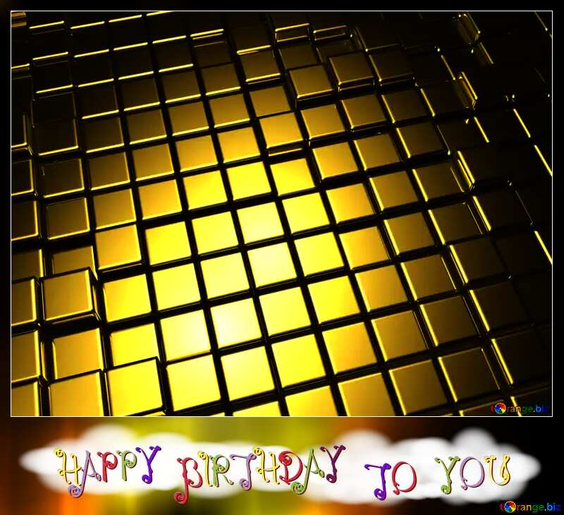 3d abstract gold metal cube background Happy Birthday Blank Card №54498