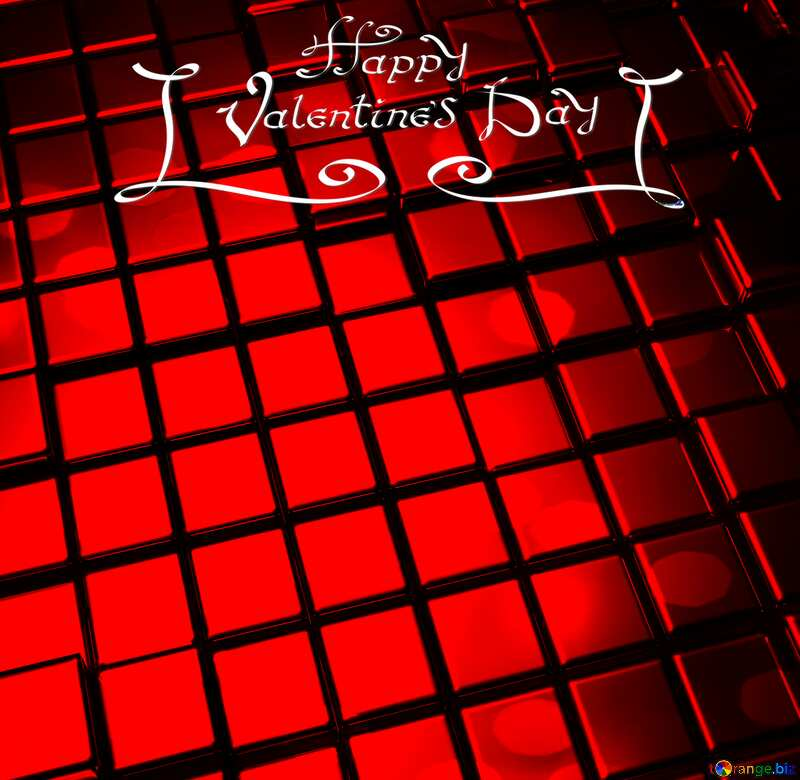 3d abstract gold metal cube background Valentines Day Happy Card Futuristic Greeting №54498