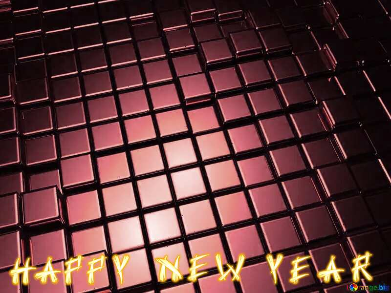 3d abstract red metal cube background Happy New Year №54498