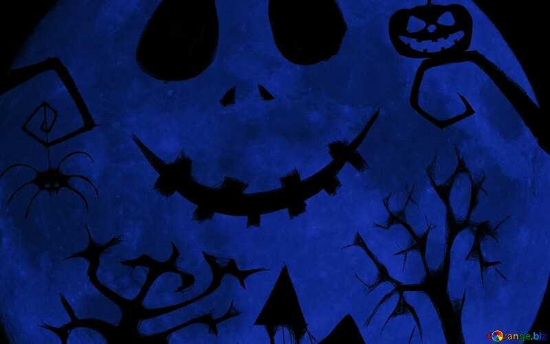 Halloween picture moon  blue №40468