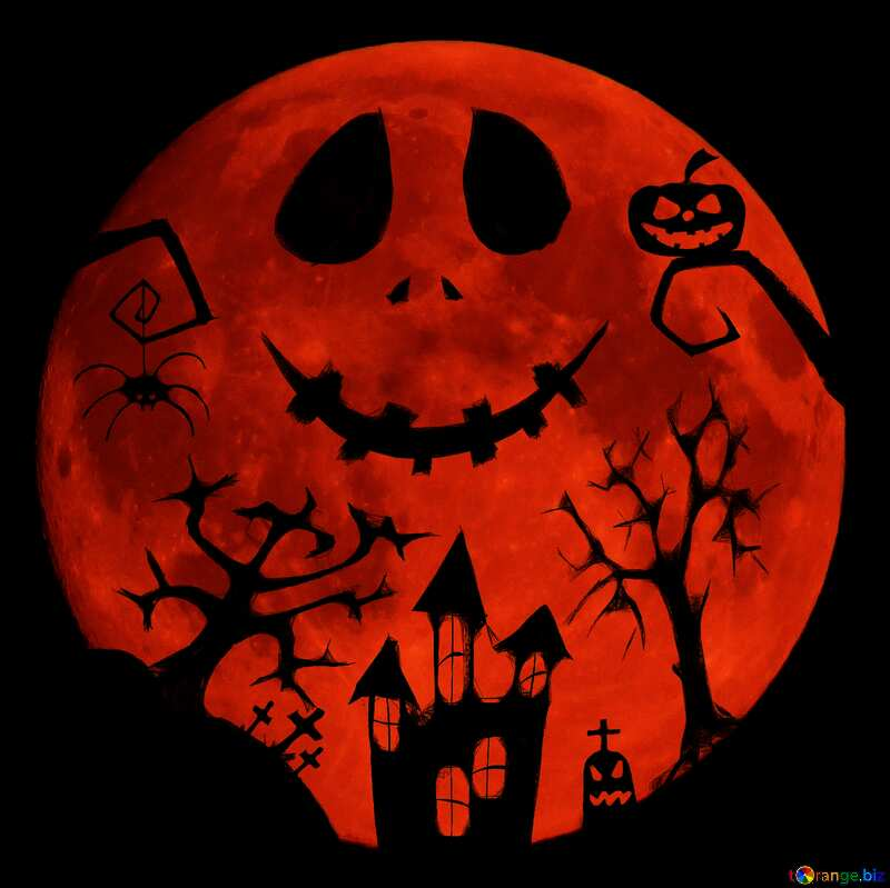 Halloween picture hard dark red moon №40468