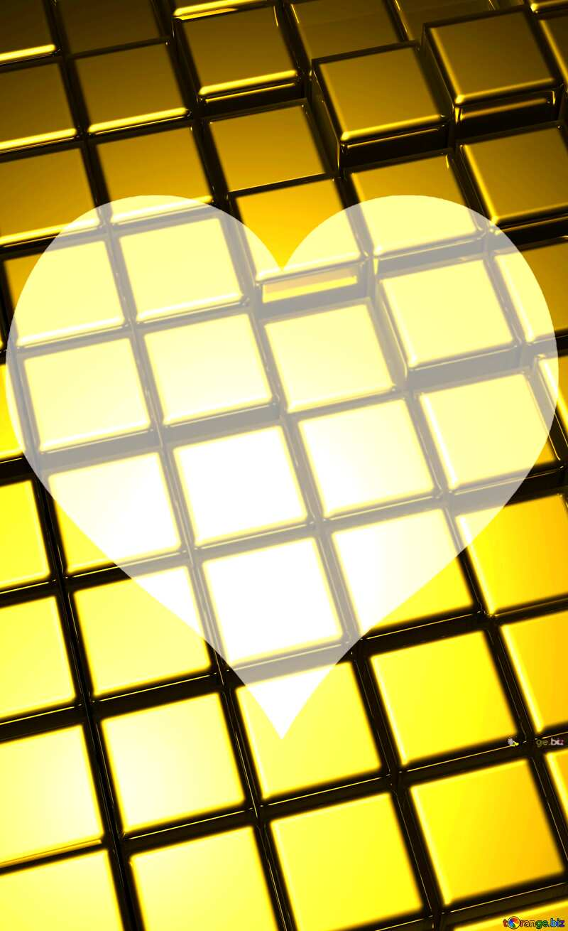 3d abstract gold metal cube background Heart Love Frame Shaped №54498