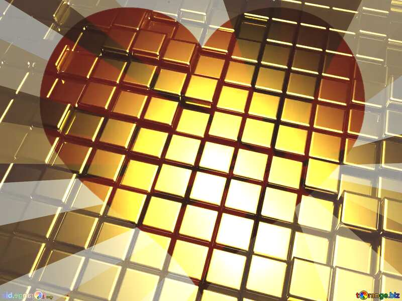 3d abstract gold metal cube background Card Heart Love Greeting Template №54498