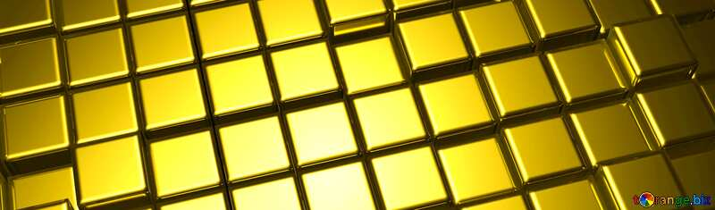 3d abstract gold metal cube horizontal banner background №54498
