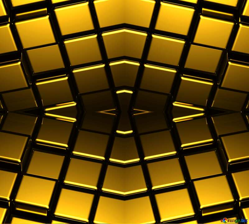 3d abstract gold metal cube background Dark Pattern Illustration Geometric Rendering Technology №54498
