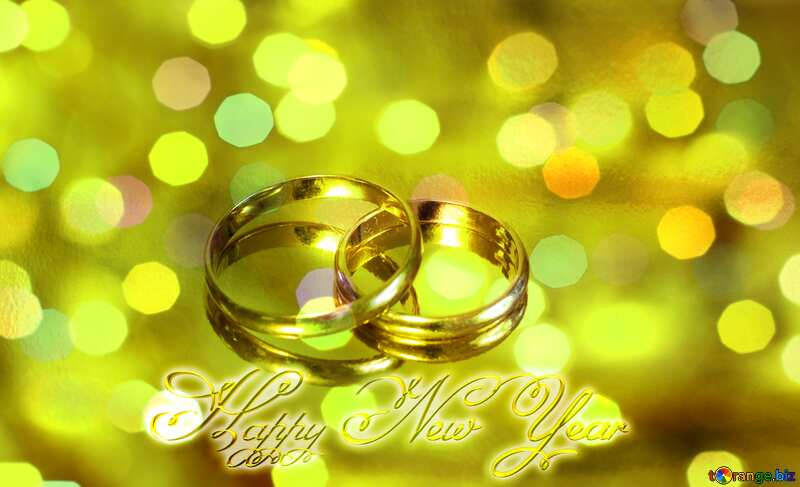 Engagement gold rings  Happy New Year inscription №7143
