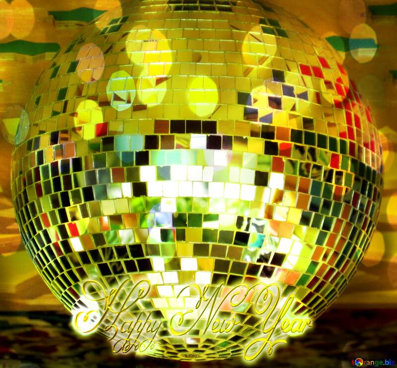 Disco ball lamp Inscription text Happy New Year №53395