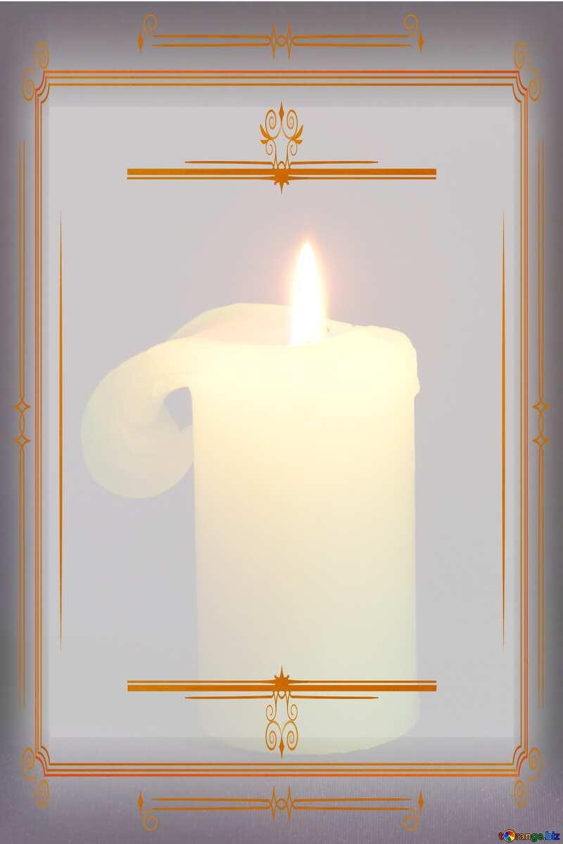 Burning candle Vintage frame retro clip art №2390