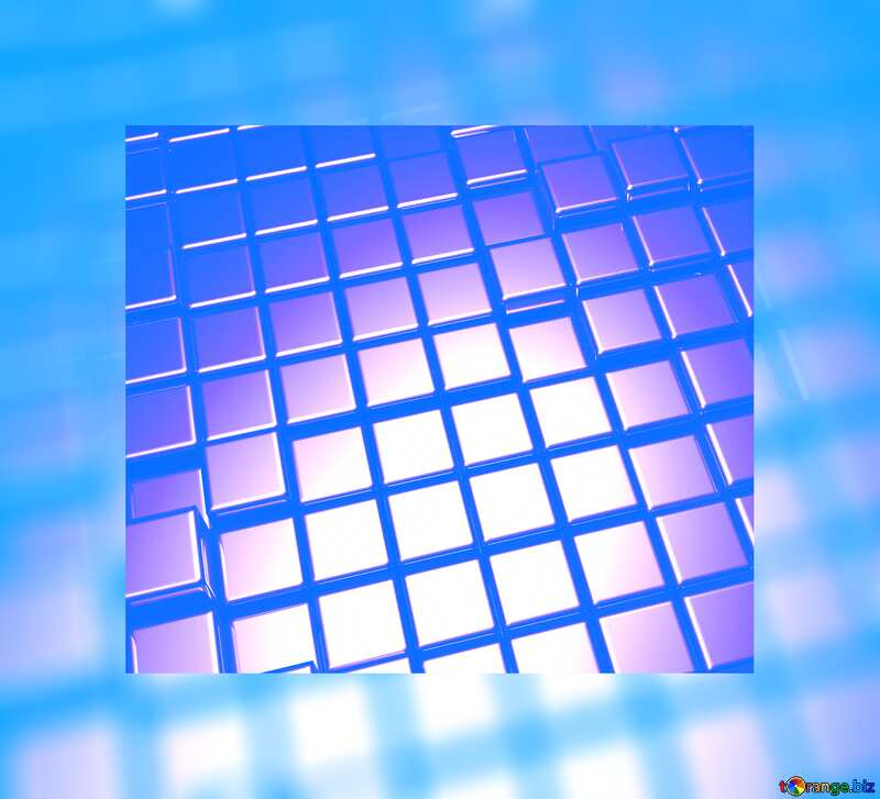 3d abstract gold metal cube background light Blue Fuzzy Border №54498