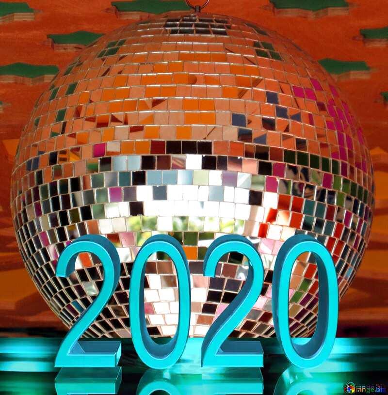 Disco ball lamp blue metal 2020 №53395