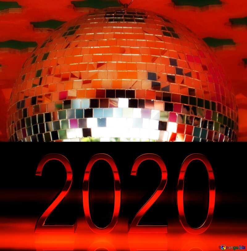 Disco ball lamp red 2020 №53395