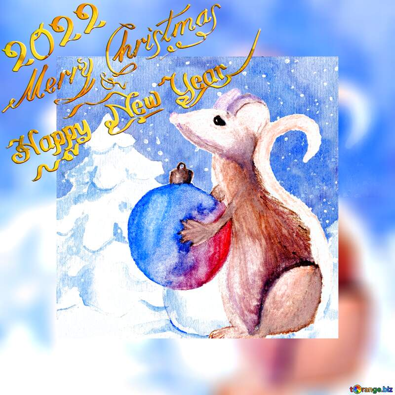 Merry Christmas and Happy New Year 2021  of the rat Chinese Snow forest watercolor paint card background №54497