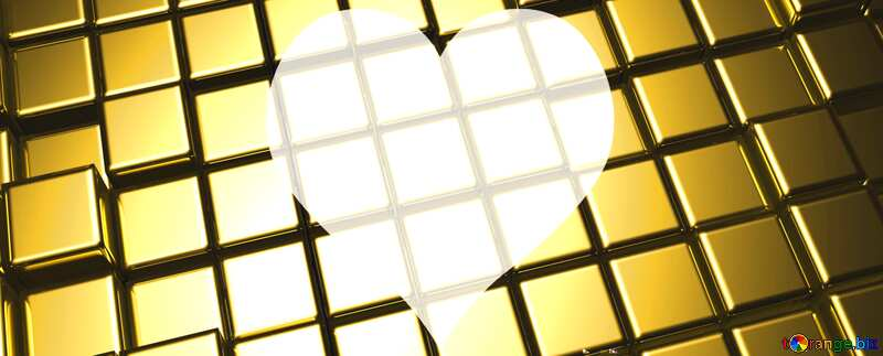 3d abstract gold metal cube background Heart Love Grid Template Texture №54498