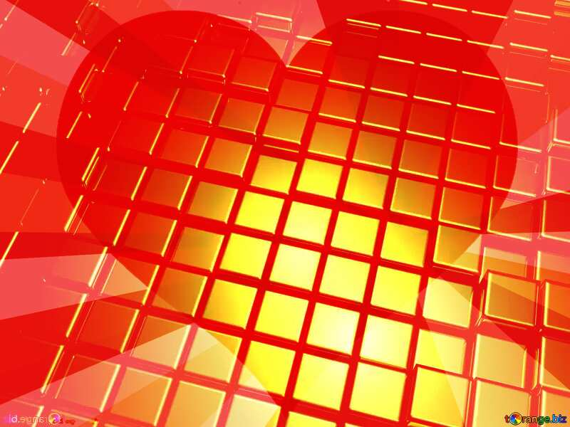 3d abstract gold metal cube background Heart In Love Rays Red Card №54498