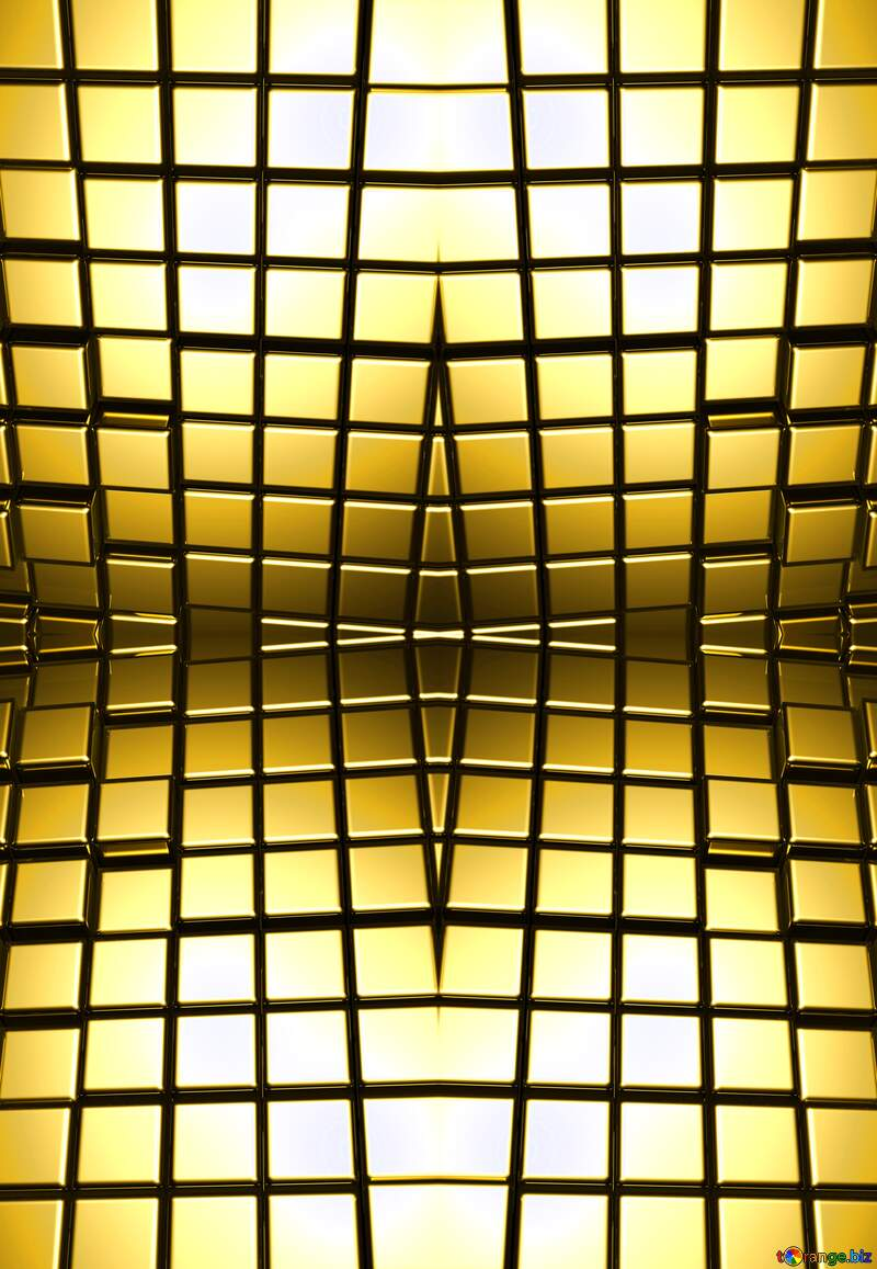 3d abstract gold metal cube background Mirrored Pattern Perspective Bright №54498