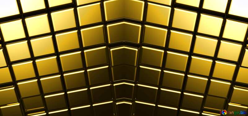 3d abstract gold metal cube background Mirrored Pattern Symetric Symmetrical №54498
