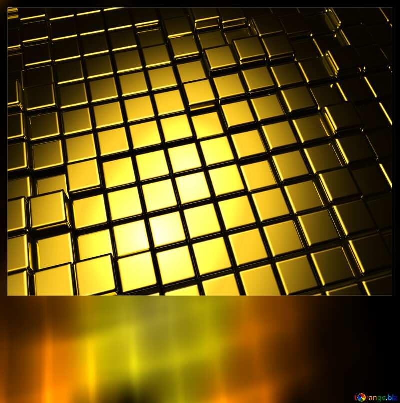 3d abstract gold metal cube background Motivations Card Blank №54498