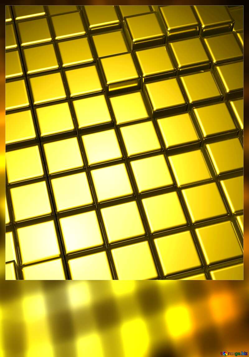 3d abstract gold metal cube background Motivations Card Blank vertical №54498