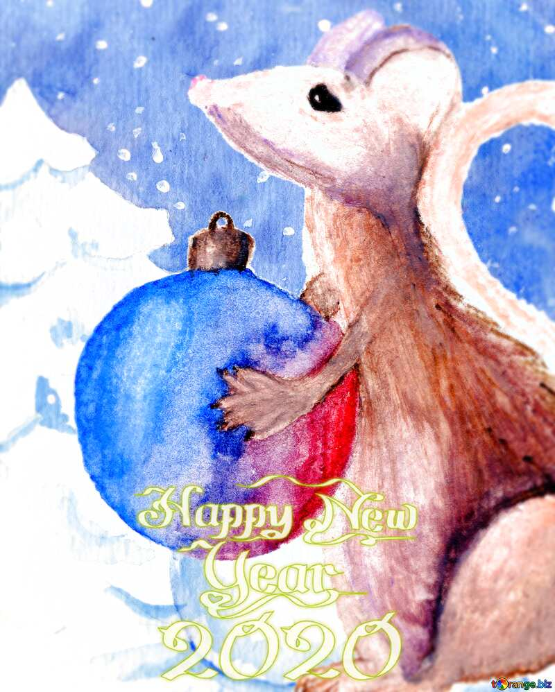 Chinese new year of the rat 2020 Winter Snow forest background. Hand Hand drawing watercolor №54497