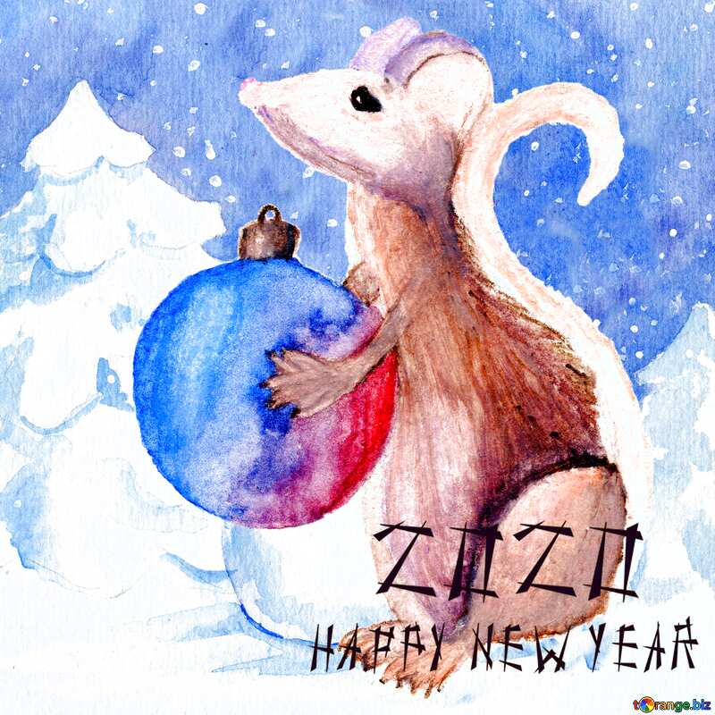 Chinese new year 2020 of rat Mouse Holds a gift in hands. watercolor card. №54497