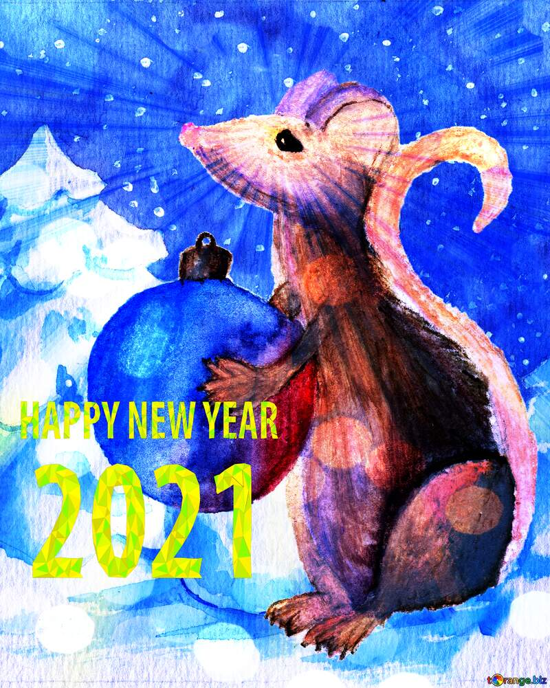 Chinese 2020 new year of the rat sunlight rays watercolor hobby card. №54497