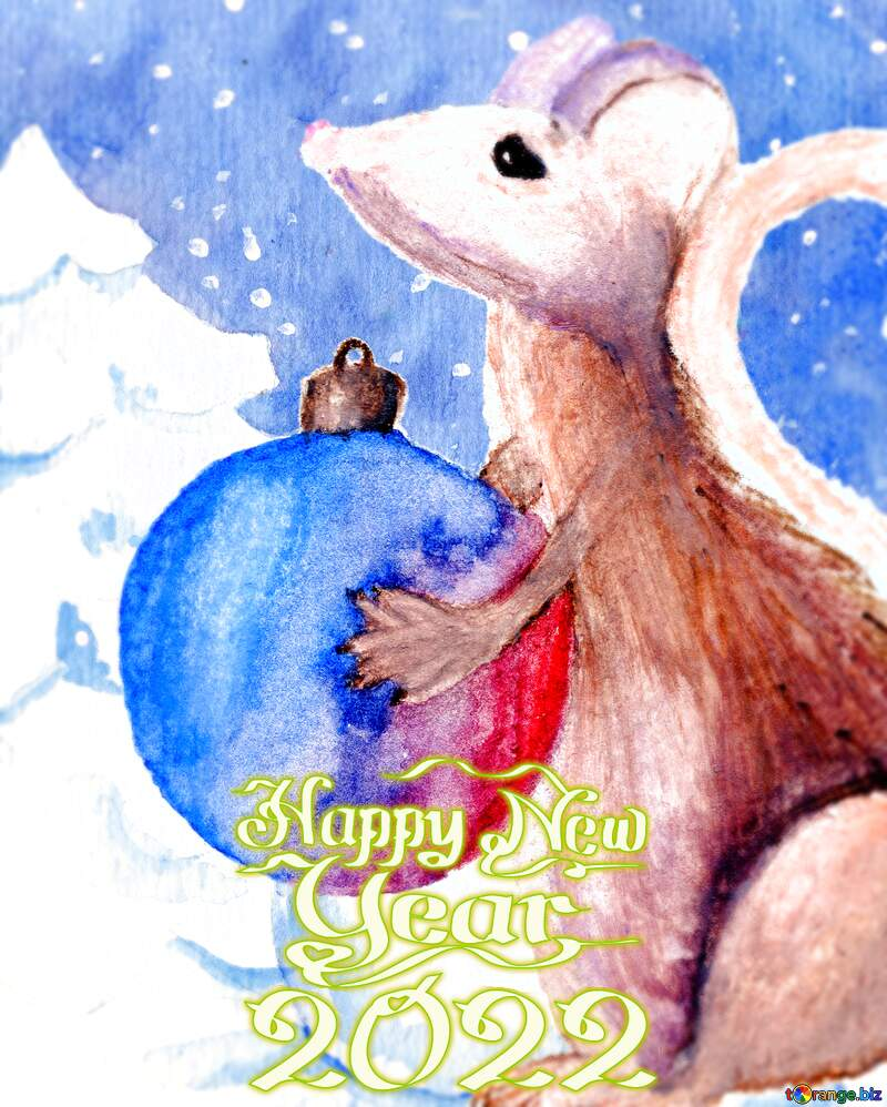 Chinese new year of the rat 2021 Winter Snow forest background. Hand Hand drawing watercolor №54497