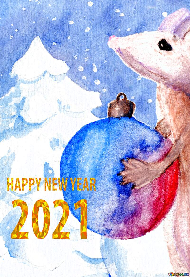 Chinese new year of the rat 2021 Christmas forest background. №54497