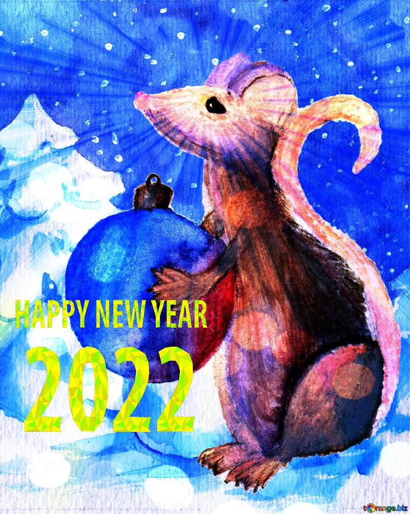 Chinese 2021 new year of the rat sunlight rays watercolor hobby card. №54497