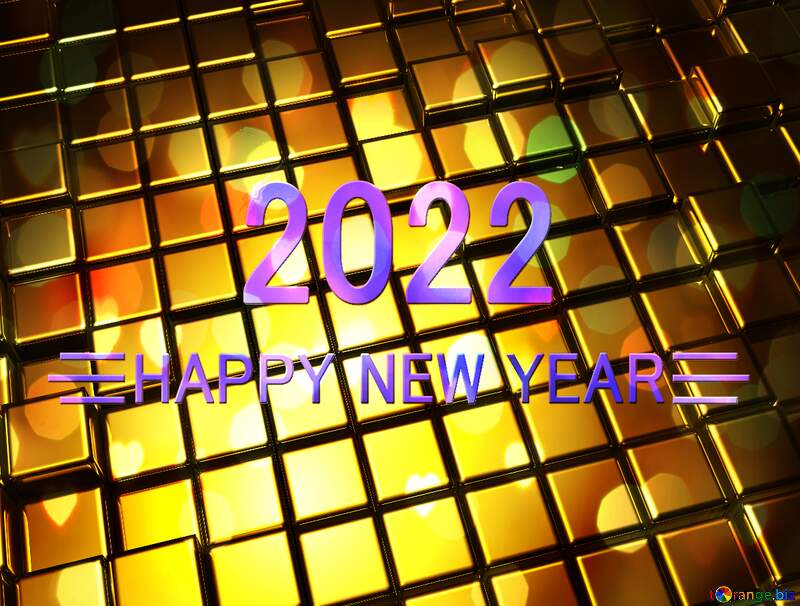 3d abstract gold metal cube background Happy New Year 2022 Christmas №54498