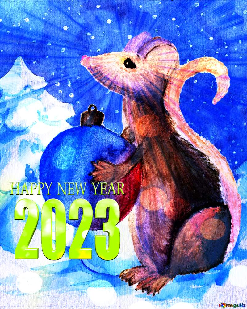Chinese 2022 new year of the rat sunlight rays watercolor hobby card. №54497
